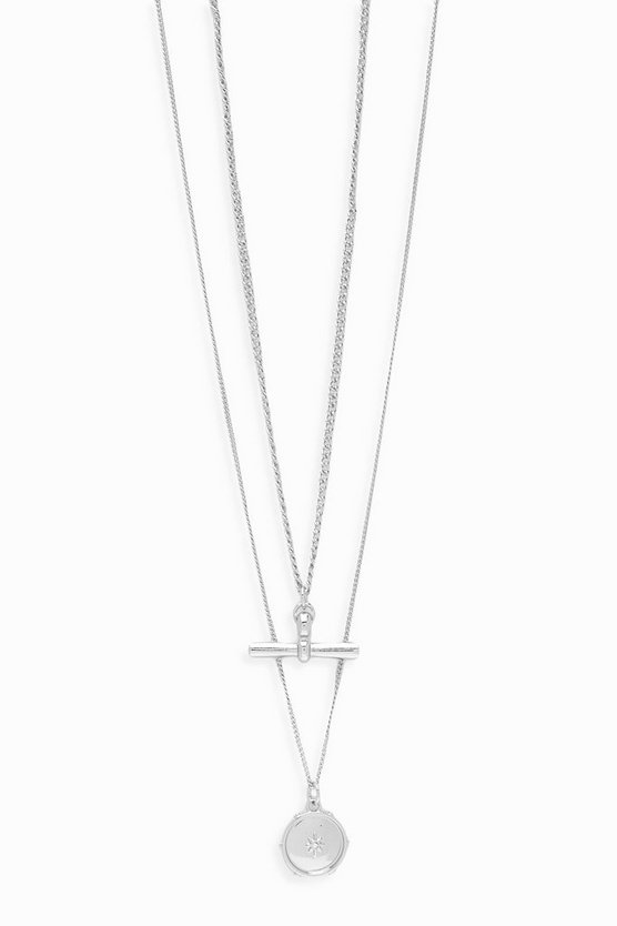 Silver T-Bar Double Layer Necklace