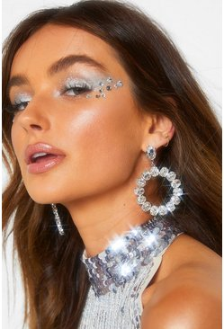 Statement Disc Diamante Earrings, Silver, Donna
