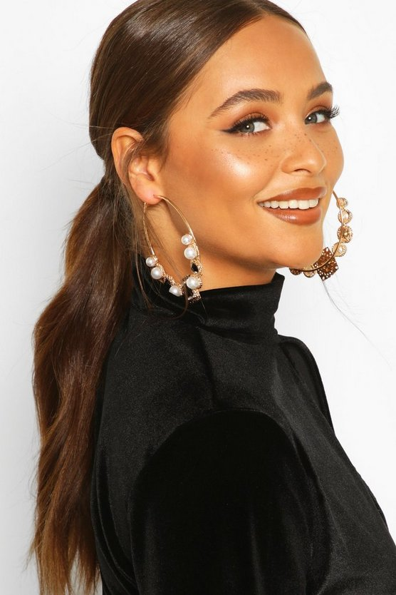 Black Pearl & Jewel Statement Hoop Earrings