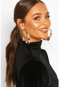 Womens Black Pearl & Jewel Statement Hoop Earrings