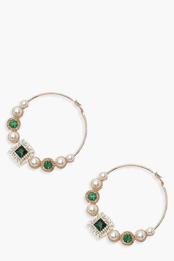 Pearl & Jewel Statement Hoop Earrings