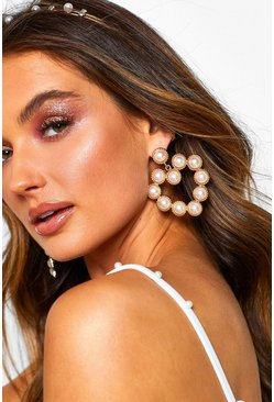 Womens Gold Large Pearl Heart Statement Earrings