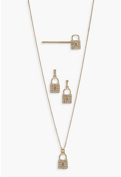 Womens Gold Diamante Lock Earring Necklace & Slide Set