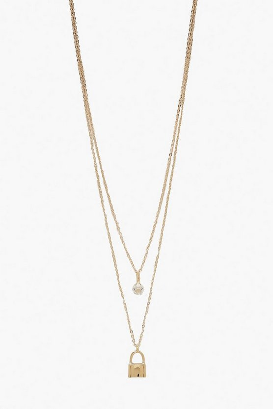 Gold Double Layer Diamante & Lock Necklace