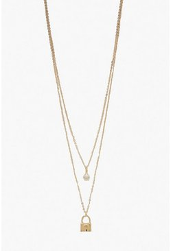 Womens Gold Double Layer Diamante & Lock Necklace