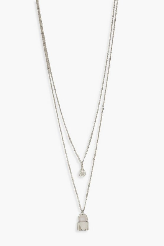 Double Layer Diamante & Lock Necklace