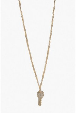 Womens Gold Diamante Key Necklaces
