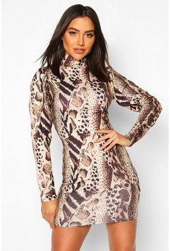 Leopard Puff Sleeve Bodycon Dress, Brown, MUJER
