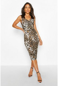 Leopard Wrap Front Midi Dress, Brown