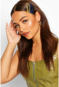 Dam Khaki 2 Pack Square Oversized Hair Clips