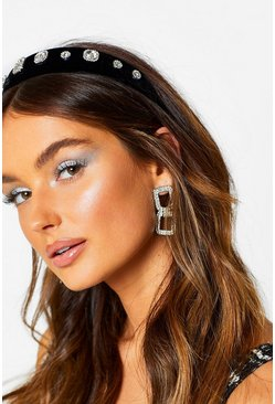 Dam Black Velvet Mixed Diamante & Jewel Head Band