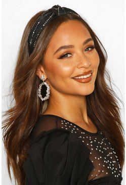 Womens Black Sequin Twist Knot Head Band