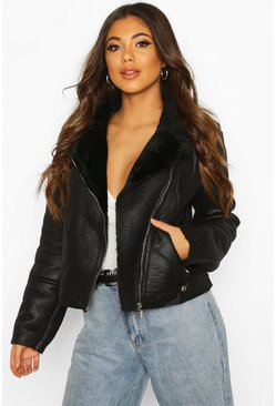 Black Faux Fur Lined Pu Aviator Jacket