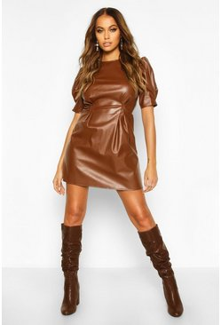Womens Brown PU Puff Sleeve Skater Dress