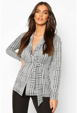 Womens Black Check Belted Blazer