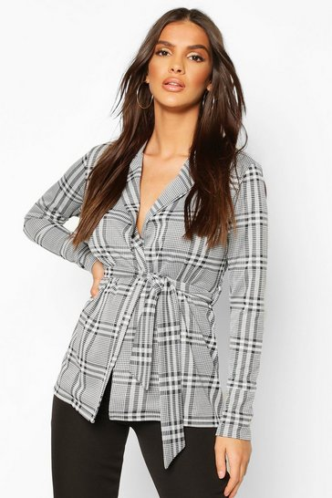 Black Check Belted Blazer