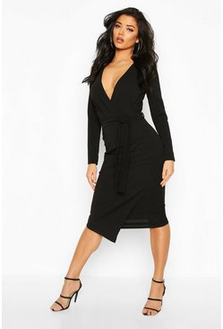 Womens Black Self-Belt Wrap Over Ruched Midi Dress