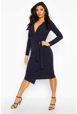 Navy Self-Belt Wrap Over Ruched Midi Dress