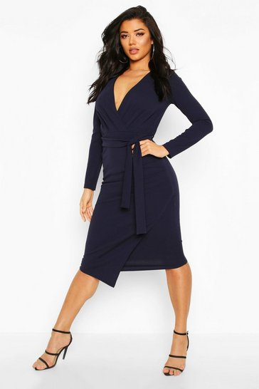Womens Navy Self-Belt Wrap Over Ruched Midi Dress