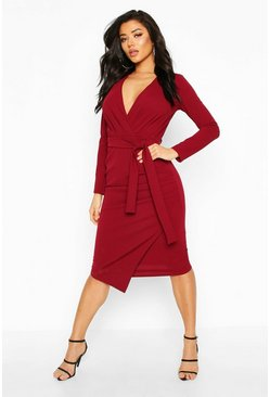 Self-Belt Wrap Over Ruched Midi Dress, Wine, DAMEN