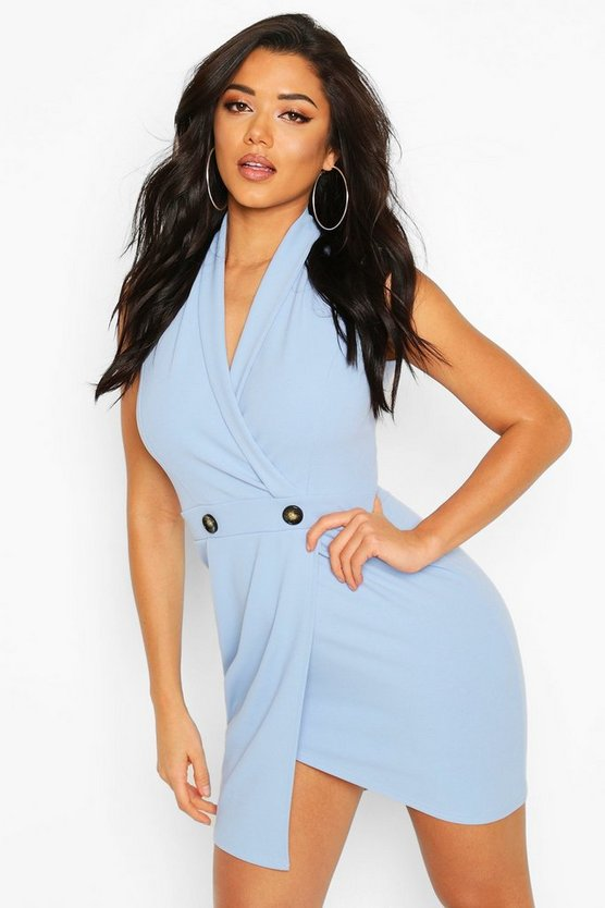 Blue Scuba Crepe Blazer Dress