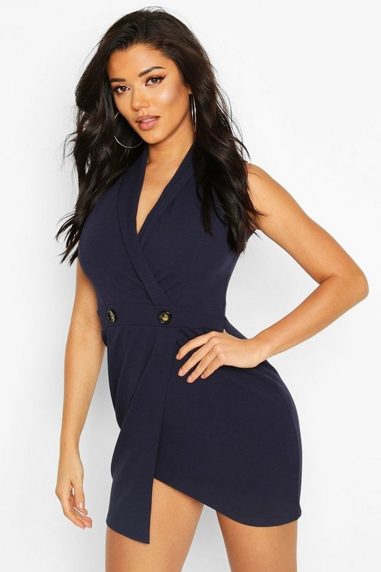Womens Navy Scuba Crepe Blazer Dress