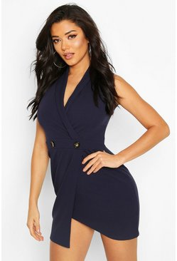 Scuba Crepe Blazer Dress, Navy