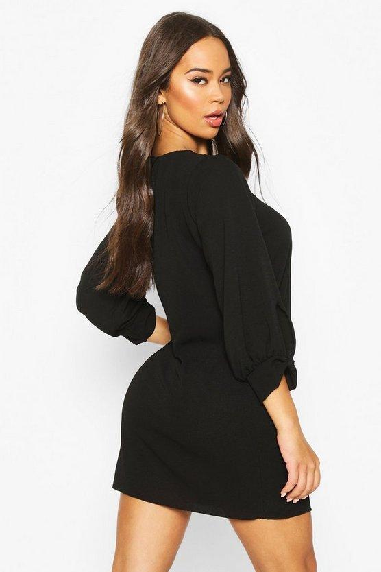 Bow Sleeve Woven Shift Dress