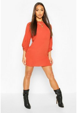 Bow Sleeve Woven Shift Dress, Rust, Donna