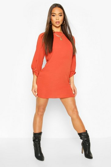 Rust Bow Sleeve Woven Shift Dress