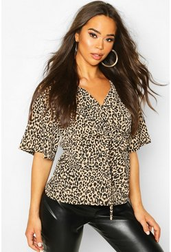 Womens Brown Knot Front Woven Leopard Blouse