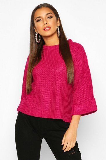 Womens Magenta Wide Sleeve Knitted Jumper