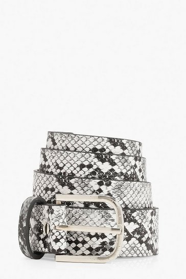 Grey Snake Print Buckle Belt