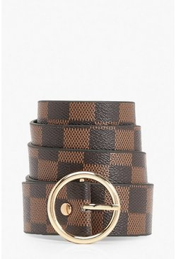Brown Ring Detail Check Print Buckle Belt