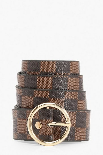 Womens Brown Ring Detail Check Print Buckle Belt