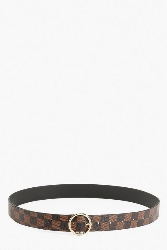 Ring Detail Check Print Buckle Belt