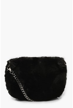 Faux Fur Cross Body Bag, Black, Donna