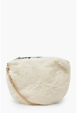White Faux Fur Cross Body Bag