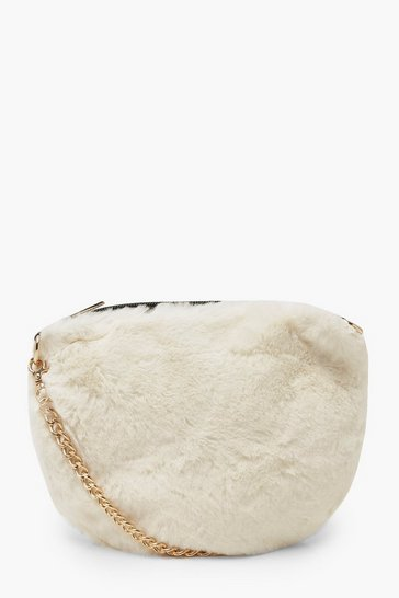 Womens White Faux Fur Cross Body Bag