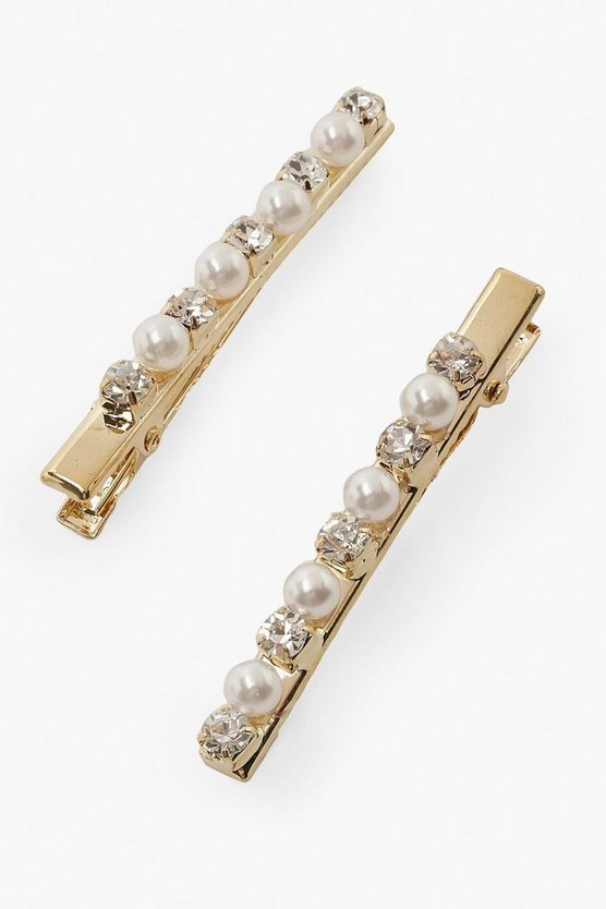 2 Pack Pearl and Diamante Hair Slides