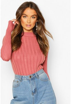 Skinny Rib Crew Neck Jumper, Antique rose