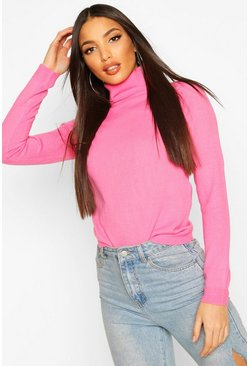 Womens Pink Roll Neck Jumper
