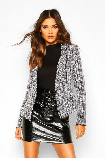 Womens Black Tweed Cropped Blazer