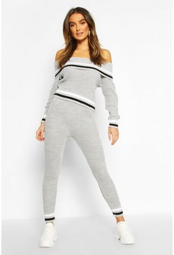 Grey Stripe Knitted Set