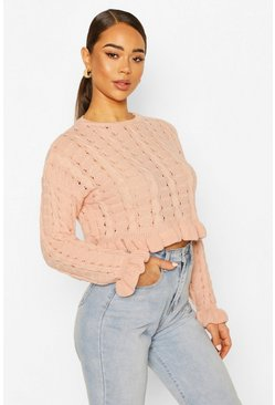 Blush Ruffle Hem Cropped Jumper