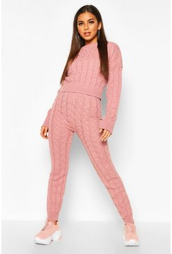 Cable Knit Set, Rose, DAMEN