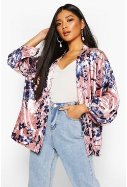 Womens Blush Luxury Printed Velour Kimono