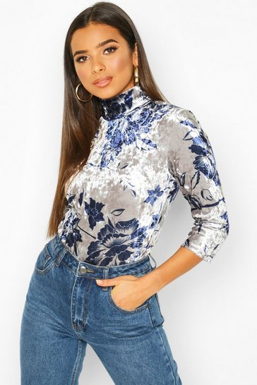 Womens Silver Luxury Printed Velour Turtle Neck Top