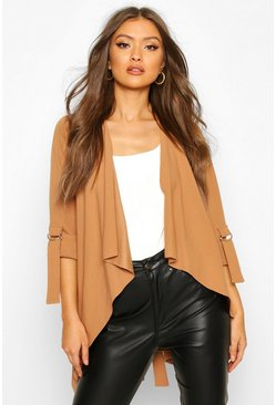 Waterfall Jacket With D Ring Feature Sleeve, Camel, Donna