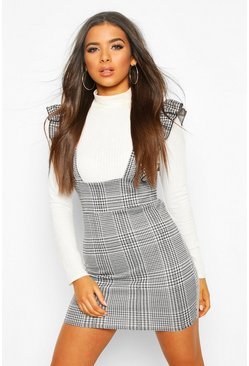 Ruffle Strap Check Pinafore , Black